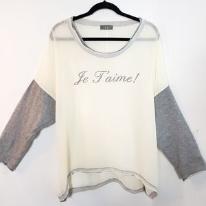 Saga Je T'aime long sleeve knitted lace sheer top